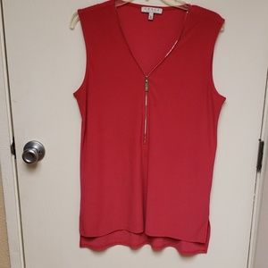 Hit pink sleeveless poly spandex top